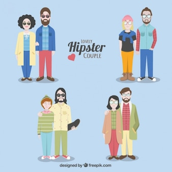 Hipster couples with different styles