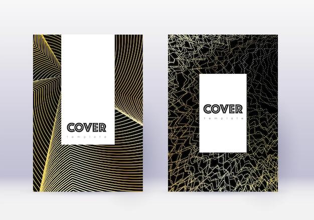 流行に敏感なカバーデザインテンプレートセット。黒の背景にゴールドの抽象的な線。魅惑的なカバーデザイン。崇高なカタログ、ポスター、本のテンプレートなど。
