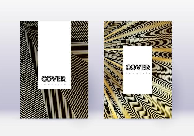 流行に敏感なカバーデザインテンプレートセット。黒の背景にゴールドの抽象的な線。魅惑的なカバーデザイン。珍しいカタログ、ポスター、本のテンプレートなど。