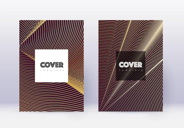 流行に敏感なカバーデザインテンプレートセット。あずき色の背景にゴールドの抽象的な線。クールなカバーデザイン。魅力的なカタログ、ポスター、本のテンプレートなど。