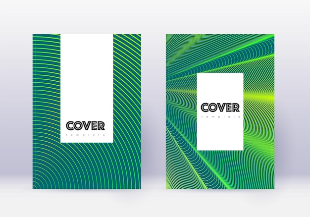 流行に敏感なカバーデザインテンプレートセット。暗い背景に緑の抽象的な線。魅力的なカバーデザイン。意外なカタログ、ポスター、本のテンプレートなど。