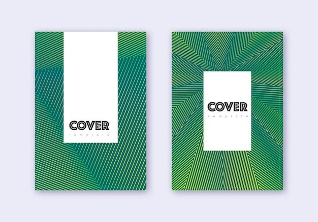 流行に敏感なカバーデザインテンプレートセット。暗い背景に緑の抽象的な線。魅力的なカバーデザイン。珍しいカタログ、ポスター、本のテンプレートなど。