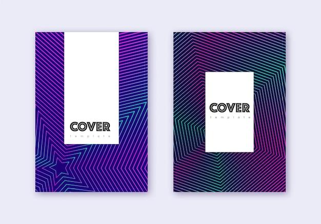 流行に敏感なカバーデザインテンプレートセット。紺色の背景にネオンの抽象的な線。クラシックなカバーデザイン。エレガントなカタログ、ポスター、本のテンプレートなど。