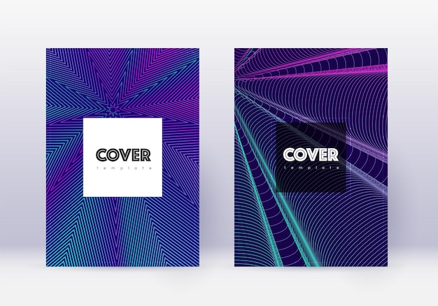 流行に敏感なカバーデザインテンプレートセット。紺色の背景にネオンの抽象的な線。クールなカバーデザイン。貴重なカタログ、ポスター、本のテンプレートなど。