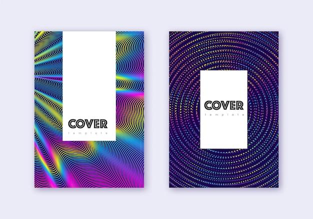 流行に敏感なカバーデザインテンプレートセット。濃い青の背景に虹の抽象的な線。クラシックなカバーデザイン。魅力的なカタログ、ポスター、本のテンプレートなど。