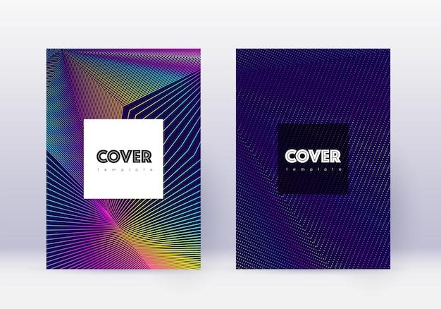 流行に敏感なカバーデザインテンプレートセット。紺色の背景に虹の抽象的な線。クリエイティブなカバーデザイン。感情的なカタログ、ポスター、本のテンプレートなど。