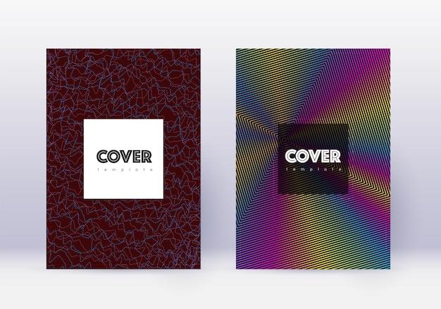 流行に敏感なカバーデザインテンプレートセット。ワインレッドの背景に虹の抽象的な線。クリエイティブなカバーデザイン。輝かしいカタログ、ポスター、本のテンプレートなど。
