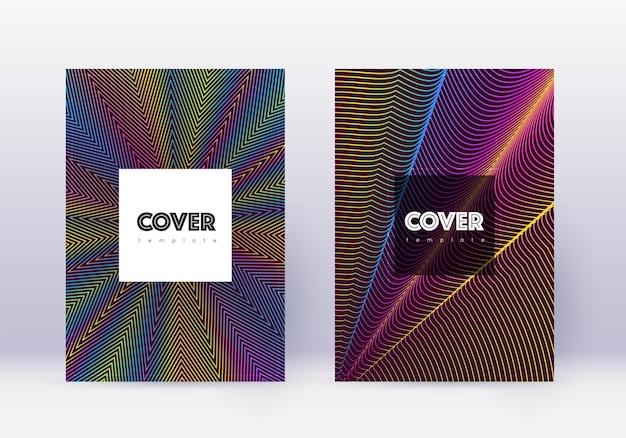 流行に敏感なカバーデザインテンプレートセット。ワインレッドの背景に虹の抽象的な線。クリエイティブなカバーデザイン。見事なカタログ、ポスター、本のテンプレートなど。