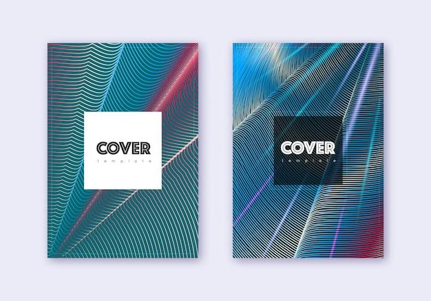 流行に敏感なカバーデザインテンプレートセット。暗い背景に赤白青の抽象的な線。好奇心旺盛なカバーデザイン。優れたカタログ、ポスター、本のテンプレートなど。