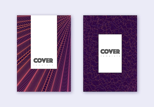 流行に敏感なカバーデザインテンプレートセット。暗い背景に紫の抽象的な線。かわいらしいカバーデザイン。魅力的なカタログ、ポスター、本のテンプレートなど。