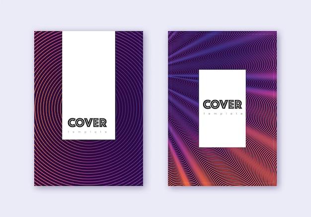 流行に敏感なカバーデザインテンプレートセット。暗い背景に紫の抽象的な線。かわいらしいカバーデザイン。上品なカタログ、ポスター、本のテンプレートなど。