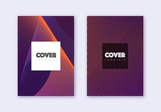 流行に敏感なカバーデザインテンプレートセット。暗い背景に紫の抽象的な線。好奇心旺盛なカバーデザイン。貴重なカタログ、ポスター、本のテンプレートなど。