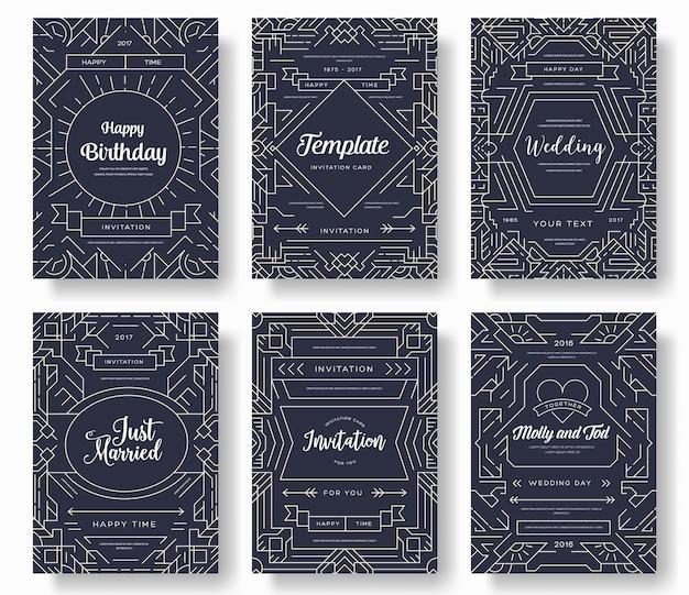 流行に敏感な装飾的なレトロなグリーティングカードまたは招待状のデザイン