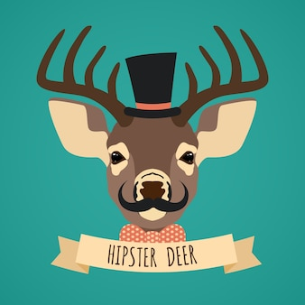 Hipster deer background design