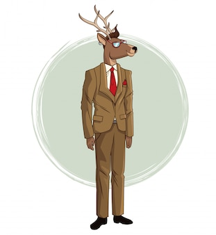 Hipster deer suit red tie sunglasses