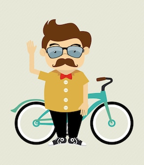 Hipster design over beige background vector illustration