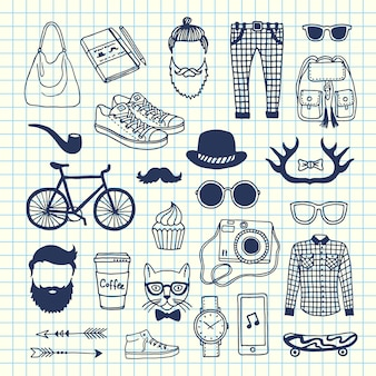 Hipster doodle icons on cell sheet