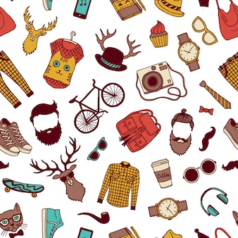 Hipster doodle seamless pattern