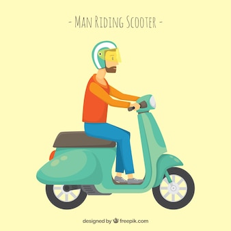 Hipster on electric scooter
