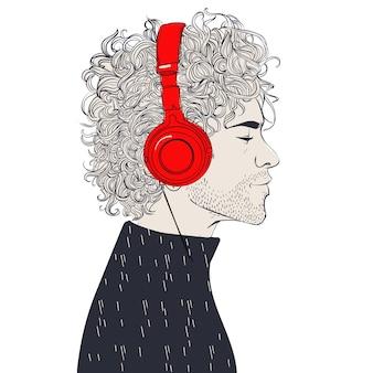 ヘッドフォンで流行に敏感なファッション理髪店の男性。ベクトルイラスト。