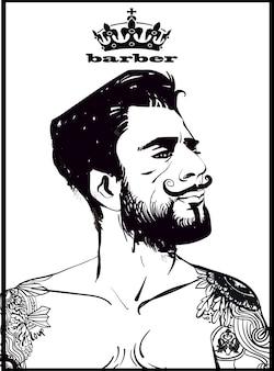 入れ墨の流行に敏感なファッション理髪店の男性。ベクトルイラスト。