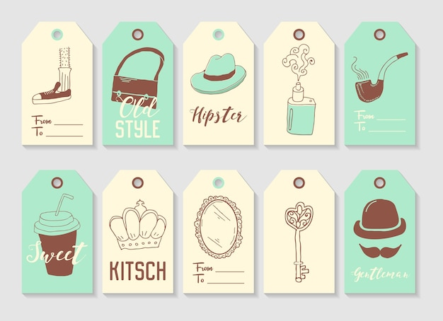 Hipster fashion hand drawn tags collection. vintage style freehand elements mustache hat bag.