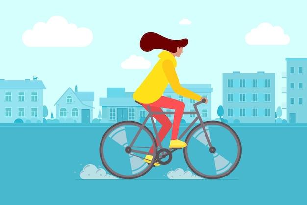 街の通りで流行に敏感な女性の乗馬自転車。町の道路で若い女性のサイクリストの余暇活動。自転車フラットベクトルepsイラストのスタイリッシュな女の子