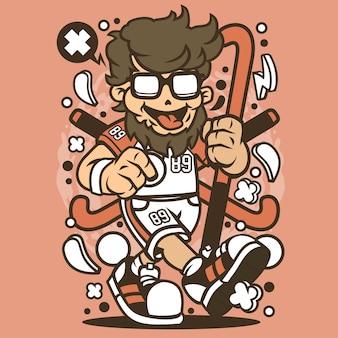 Hipster field hockey cartoon