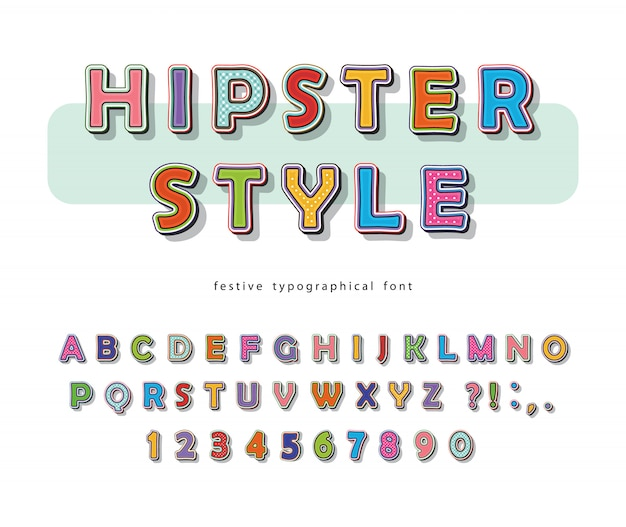 Hipster font. comic pop art colorful alphabet with letters and numbers