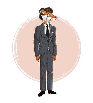 Hipster fox monocle hat gray suit tie elegant