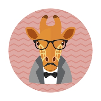 Hipster giraffe with glasses, mustache and bow tie