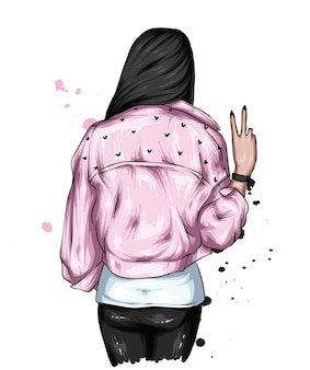 Hipster girl in stylish jacket