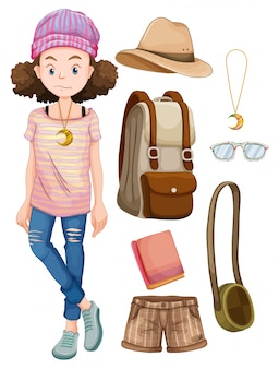 Hipster girl with personal items