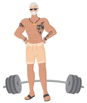 Hipster grandfather in gym, old male bodybuilder