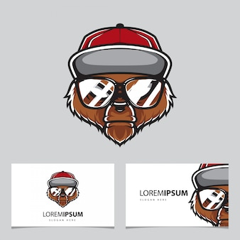 Hipster grizzly head, bear  logo template