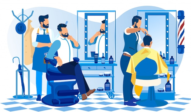 Hipster grooming place barber doing client haircut