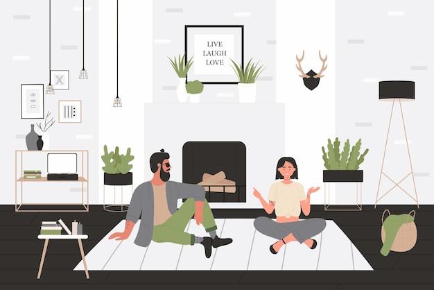 流行に敏感な男と女がベクトルイラストを話します。居心地の良い家のリビングルームのインテリアの床に座って、ボーイフレンドとガールフレンドが一緒に時間を過ごす漫画の幸せな男性の女性の友人やカップルのキャラクター