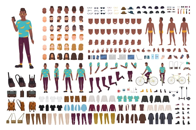 Hipster guy animation kit. african american man dressed in trendy clothes. collection of male flat cartoon character body parts in various postures isolated on white background.