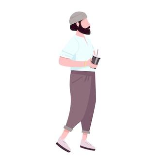 流行に敏感な男がコーヒーを飲みながら、フラットカラーの顔のないキャラクターになります。使い捨てテイクアウトカップを保持しているファッション、スタイリッシュなひげを生やした男は、webグラフィックデザインとアニメーションの漫画イラストを分離しました