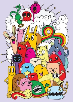 Hipster Hand drawn Crazy doodle Monster group
