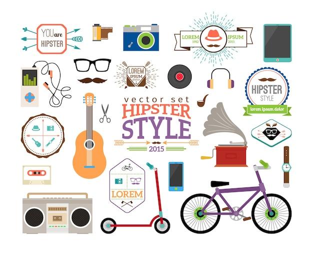 Хипстерские элементы инфографики и этикетки. скутер и проигрыватель, трубка и пластинка, гитара и магнитофон, часы и велосипед.