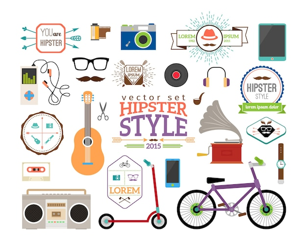 Hipster infographics elements and labels. scooter and player, tube and plate, guitar and tape, watches and  bicycle.