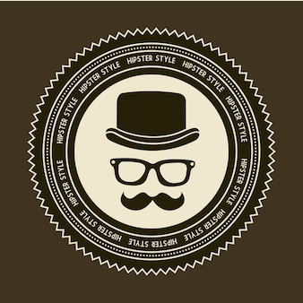 Hipster label over brown background old style vector
