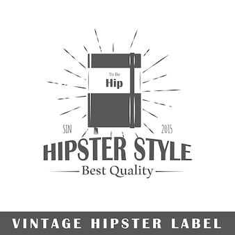 Hipster label isolated on white background