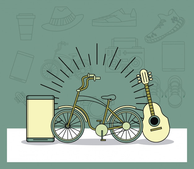 Hipster lifestyle cartoons vintage colors