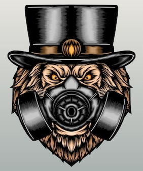 Hipster lion with gas mask.