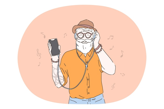 Hipster, listening to music in headphones concept.