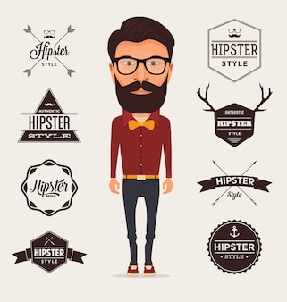 Hipster logo templates collection
