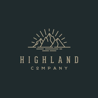Ретро hipster гора и море для приключений эмблема logo