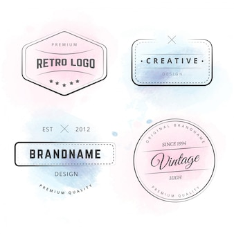 Hipster logos with watercolor splashes